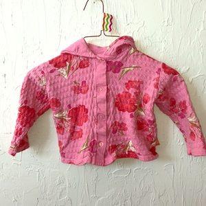 24m Girl hoodie pink floral knit little angel club